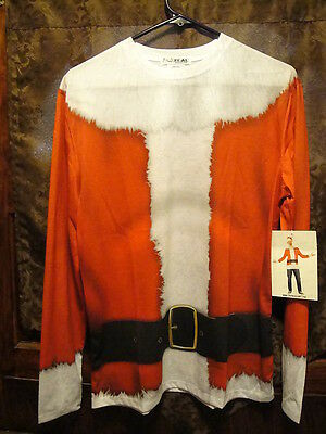 FAUX REAL Santa Suit Top ~ Men's Small ~ NWT ~ L/SLV T Shirt UGLY XMAS SWEATER