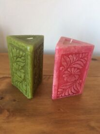 Two colourful candles (from Morocco)