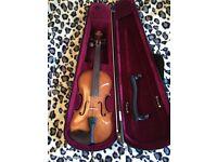 3/4 student violin outfit + case + 1 Everest shoulder rest