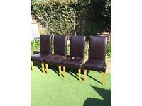 4 x leather dining chairs in need of refurbishment
