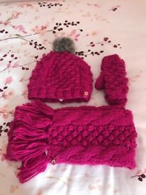 Girls pink Ted baker hat, scarf and gloves
