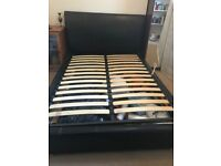 Faux Leather Double bedframe with Gaslift storage for sale