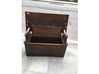 Must be seen, lovely carved Monk's Bench , with storage .
