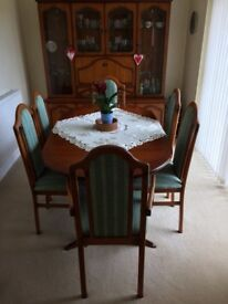 Dining table + chairs and glass display unit