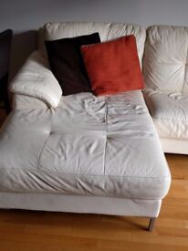 White leather sofa - 3 seater + chaise longue