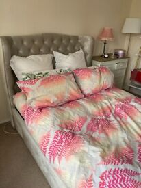 Beautiful velvet upholstered double bed for sale