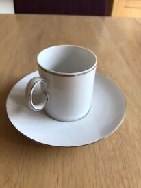 Thomas China coffe cups and saucers x 6, thin platinum band
