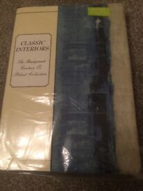 Curtains Blue And Grey With Tie Backs Brand New Still In Packet 90 inches wide by 90 inches drop