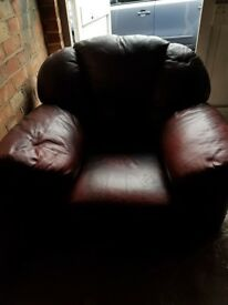 Free Brown leather arm chairs and sofa