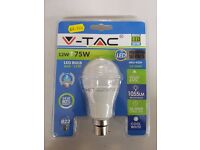 Brand new V-TAC 12w / 75w BC LED light bulb Cool White