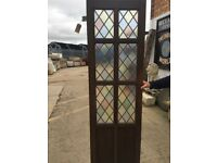 Oak door with coloured leaded glass (narrow)