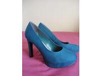 New Look Dark Blue Suede Court Shoes High Heels EU Size 39 - 40, UK size 6 - 7