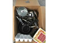 Available.Saucepans etc ideal students