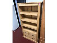 bare wood bookcase