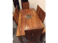 Solid wood dining table with 6 chairs and slate inlays