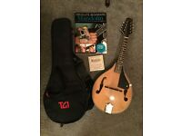 Acoustic Mandolin With Soft Carry Case, Spare Strings, electric tuner & beginners guide book with CD