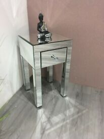 Lucia Small 1 Drawer Mirrored Bedside BRAND NEW