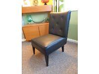 Vintage 1960's Black Vinyl Buttonback Chair