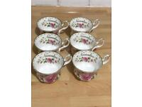 Royal Albert bone China flower of the month tea cups green and pink