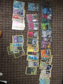 Ex cards, holo rare cards,reverse holo rare cards, rare cards, uncommon and common cards