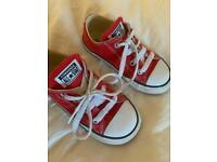 Converse size 8 boys red trainers /shoes