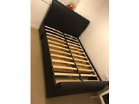 Brown leather bed frame double for sale