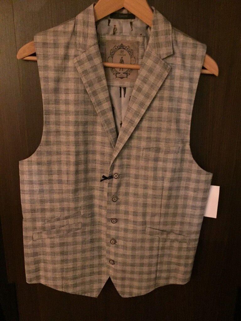 Cavani Mens Waistcoat Chequered Grey - Size 42