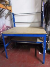USED PACKING TABLE - WITH SHELF AND RACK - ONLY £55