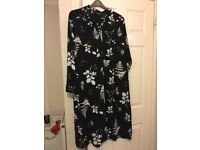 Patterned black and white shirt dress