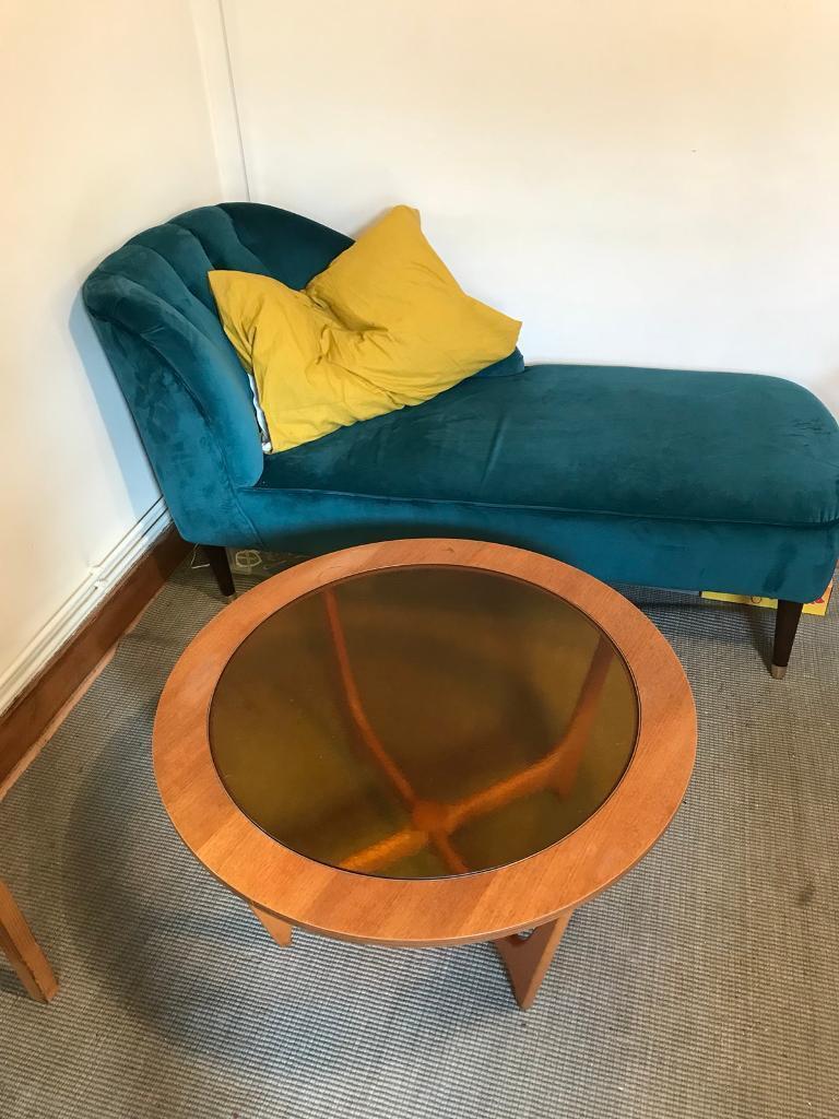 Made Margot chaise longue / sofa in blue velvet | in Kilburn, London ...