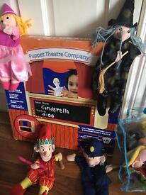 ELC puppet theatre with full bag of puppets