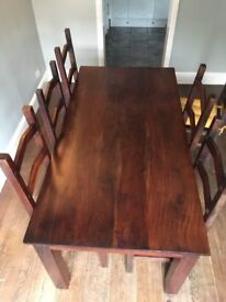 Indian Oak dining table and six chairs with seat pads