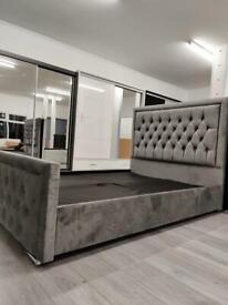 Smart Furniture-Double Heaven bed Frame With Diamonates in Grey Color