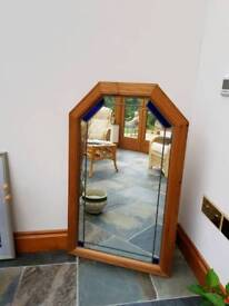 Pine framed stained glass mirror
