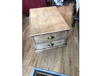 Pine Two Drawers Chest / Coffee Table , with brass handles . Must be seen .... Free Local Delivery