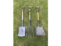 Bulldog fibreglass spade,fork, shovel