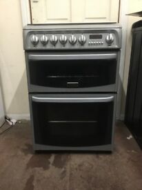 Cannon dual fuel gas cooker 60cm silver double oven 3 month warranty free local delivery!!!!!!