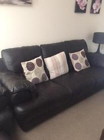 DFS Leather sofa, chair and foot stool..