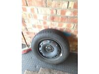 5x100 steel wheel with nearly new tyre 14 inch skoda VW audi