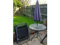 Garden set - table 4 chairs and parasol