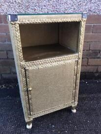 Vintage Lloyd loom gold bedside cabinet with glass top lovely condition