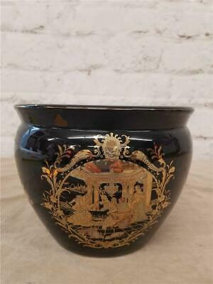 Asian Fish Bowl Pot Vase Black Gold Accents 6