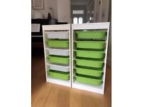 IKEA TROFAST - two tall 6 draw units (rrp £58)m white frame with green and white trays