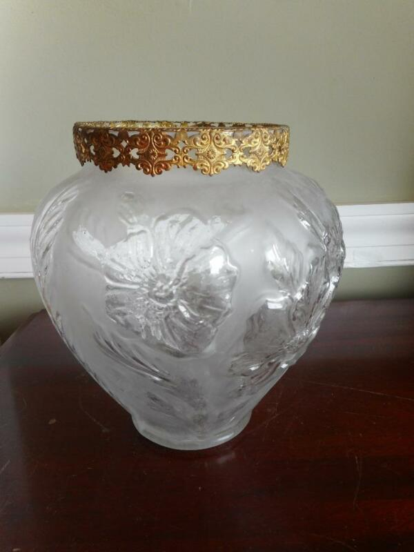 Vintage 1930s Phoenix Consolidated clear & satin glass  vase w/ ormolu top mount
