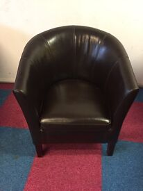 8 x Dark Brown Faux Leather Armchairs in great condition