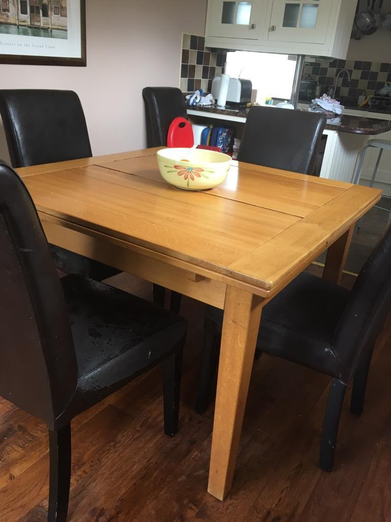 Square Extending Dining Table In Solid Oak