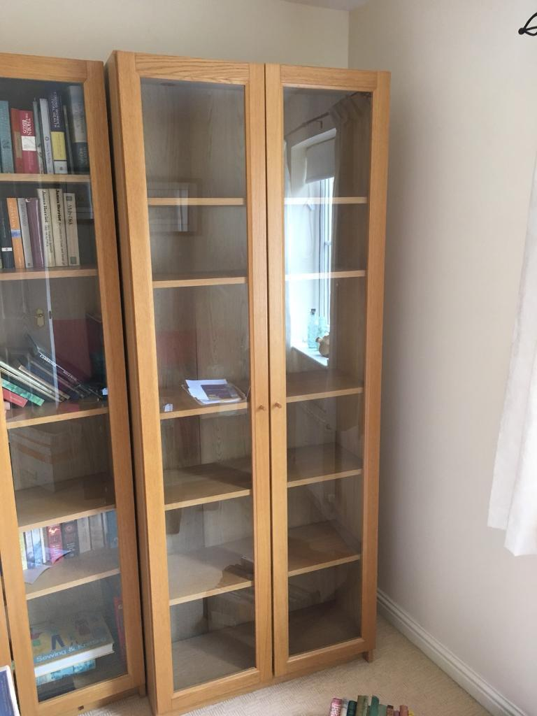 Ikea Billy Bookcase Oak Effect With Glass Doors Two In