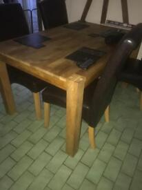 Oak dining Table 4 chairs