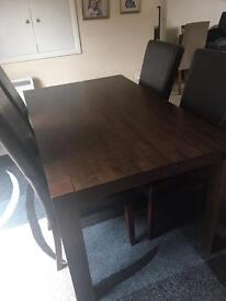 Solid oak table & 4 leather chairs