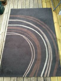Brown striped patterned contemporary rug 176cm x 120cm